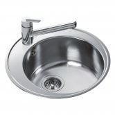 Signature Teka 1.0 Bowl Round Inset Kitchen Sink with Waste Kit 510mm L x 510mm W - Stainless Steel