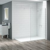 Signature Vibrance Wet Room Screen with Stabilising Bar 1100mm Wide - 8mm Glass