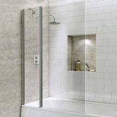 Synergy Vodas 6 Square Bath Screen with Extended Fixed Panel 1400mm H x 1000mm W - 6mm Glass
