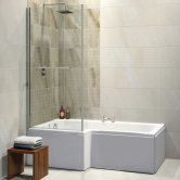 Synergy Elite L-Shaped Standard Shower Bath 1675mm x 700/850mm - Left Handed