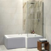 Synergy Elite L-Shaped Premier Shower Bath 1675mm x 700/850mm - Right Handed