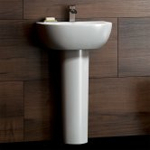 Synergy Flero Basin and Full Pedestal 605mm Wide - 1 Tap Hole