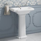 Synergy Henbury Basin and Full Pedestal 575mm Wide - 1 Tap Hole