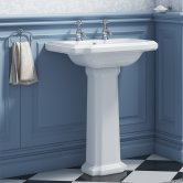 Synergy Henbury Basin and Full Pedestal 575mm Wide - 2 Tap Hole