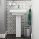 Synergy Marbella Basin and Full Pedestal 650mm Wide - 1 Tap Hole