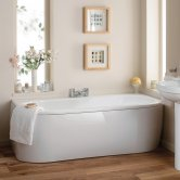 Synergy Curved Double Ended Back to Wall Bath 1700mm x 800mm - 0 Tap Hole