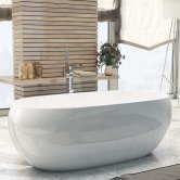 Synergy Pebble Double Ended Freestanding Bath 1660mm x 740mm - 0 Tap Hole