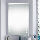 Synergy Roma Bathroom Mirror with Demister Pad and Clock 700mm H x 500mm W