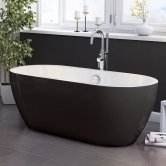 Synergy San Marlo Double Ended Freestanding Bath 1655mm x 750mm Black - 0 Tap Hole