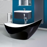 Synergy Double Ended Thin Edged Freestanding Slipper Bath 1750mm x 750mm Black - 0 Tap Hole
