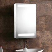 Synergy Taurus 1-Door Mirrored Bathroom Cabinet 610mm H x 380mm W - Aluminium