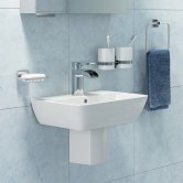 Synergy Valencia Basin and Semi Pedestal 600mm Wide - 1 Tap Hole