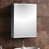 Synergy Virgo 1-Door Mirrored Bathroom Cabinet 700mm H x 500mm W - Aluminium