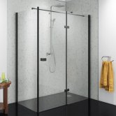 Synergy Vodas 8 Stella Black Profile Hinged Shower Door 1400mm Wide Right Handed - 8mm Glass