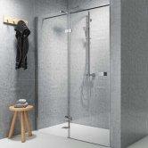 Synergy Vodas 8 Stella Chrome Profile Hinged Shower Door 1000mm Wide Left Handed - 8mm Glass