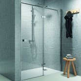 Synergy Vodas 8 Stella Chrome Profile Hinged Shower Door 1600mm Wide Right Handed - 8mm Glass