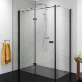 Synergy Vodas 8 Stella Black Profile Hinged Shower Door 1000mm Wide Left Handed - 8mm Glass