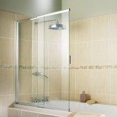 Synergy Vodas 2 Panel Sliding Bath Screen 1275mm High x 820mm Wide - 4mm Glass