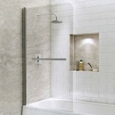 Synergy Vodas 6 Curved Bath Screen with Towel Rail 1400mm High x 800mm Wide - 6mm Glass