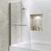 Synergy Vodas 6 Sail Bath Screen with Towel Rail 1400mm High x 800mm Wide - 6mm Glass