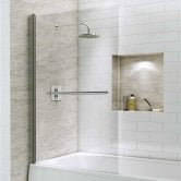 Synergy Vodas 6 Square Bath Screen with Towel Rail 1400mm H x 800mm W - 6mm Glass