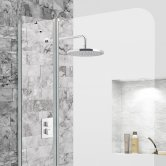 Synergy Vodas 6 Radius Bath Screen with Extended Fixed Panel 1400mm H x 1000mm W - 6mm Glass