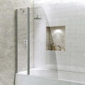 Synergy Vodas 6 Sail Bath Screen with Extended Fixed Panel 1400mm High x 1000mm Wide - 6mm Glass