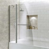 Synergy Vodas 6 Sail Bath Screen with Fixed Panel and Towel Rail 1400mm H x 1000mm W - 6mm Glass
