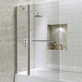 Synergy Vodas 6 Square Bath Screen with Fixed Panel and Towel Rail 1400mm H x 1000mm W - 6mm Glass