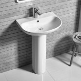 Tavistock Orbit D-Shape Basin with Full Pedestal 555mm W - 1 Tap Hole