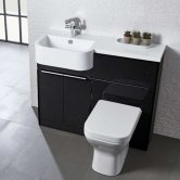 Tavistock Match Left Handed Combination Unit With Basin 1000mm Wide - Gloss Clay