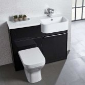Tavistock Match Right Handed Combination Unit With Basin 1000mm Wide - Gloss Clay