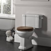 Tavistock Vitoria Close Coupled Toilet with Lever Cistern - Oak Seat