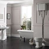 Tavistock Vitoria High Level Toilet WC Pull Chain Cistern Solid Wood Seat