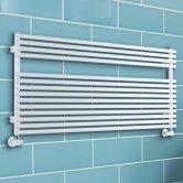 TRC BDO Sitar Single Heated Towel Rail 373mm H x 1520mm W White
