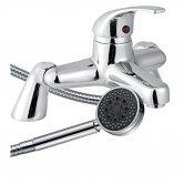 Trisen Alisa Single Lever Bath Shower Mixer Tap with Shower Kit Pillar Mounted - Chrome