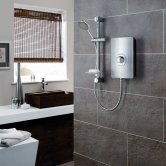 Triton Aspirante Electric Shower 8.5 kW - Brushed Steel