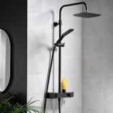 Triton Push Button Bar Diverter Mixer Shower with Shower Kit and Fixed Head - Matt Black