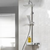Triton Push Button Bar Diverter Mixer Shower with Shower Kit and Fixed Head - Chrome