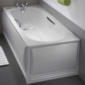 Twyford Celtic Single Ended Rectangular Antislip Bath with Grips and Legs 1700mm x 700mm 2 Tap Hole