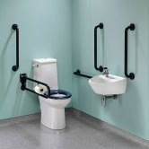 Twyford Doc M Super Pack with Rimless Disabled Toilet Left Handed - Blue
