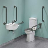 Twyford Doc M Super Pack with Rimless Disabled Toilet Right Handed - Grey