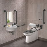 Twyford Doc M Rimless Pack With BTW Disabled Toilet Right Handed - Grey