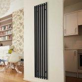Ultraheat Trojan Single Designer Vertical Radiator 1760mm H x 390mm W Black