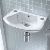 Verona Advantage Wall Mounted Cloakroom Basin 450mm Wide 2 Tap Hole