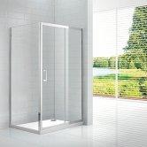 Verona Aquaglass Intro Sliding Shower Door 1200mm Wide - 8mm Clear Glass