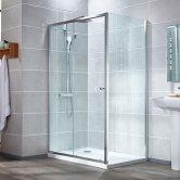 Verona Aquaglass Intro Sliding Shower Door 1400mm Wide - 6mm Clear Glass