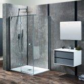 Verona Aquaglass+ Linear Hinged Shower Door 1200mm Wide LH - 8mm Clear Glass