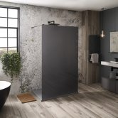 Verona Aquaglass Mono Black Frosted Walk-in Shower Panel 1200mm Wide with Support Bar - 8mm Glass