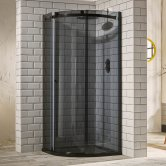 Verona Aquaglass+ Sphere Offset Quadrant 1 Door Shower Enclosure 1000mm x 800mm - LH Smoked Glass
